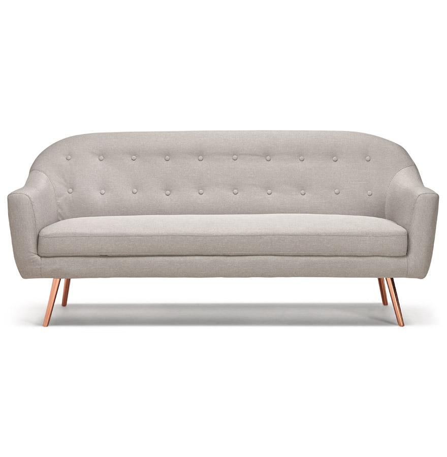 Canapé droit 3 places ´WINSTON´ en tissu gris capitonné