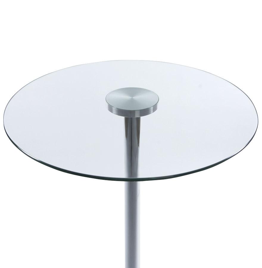 Table haute xena en verre transparent mange debout design for Table haute en verre