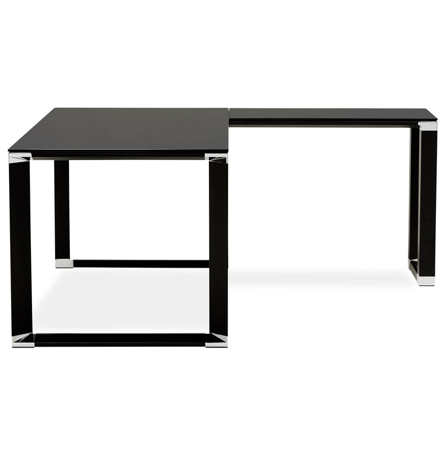 bureau d 39 angle design xline en verre noir bureau de direction. Black Bedroom Furniture Sets. Home Design Ideas