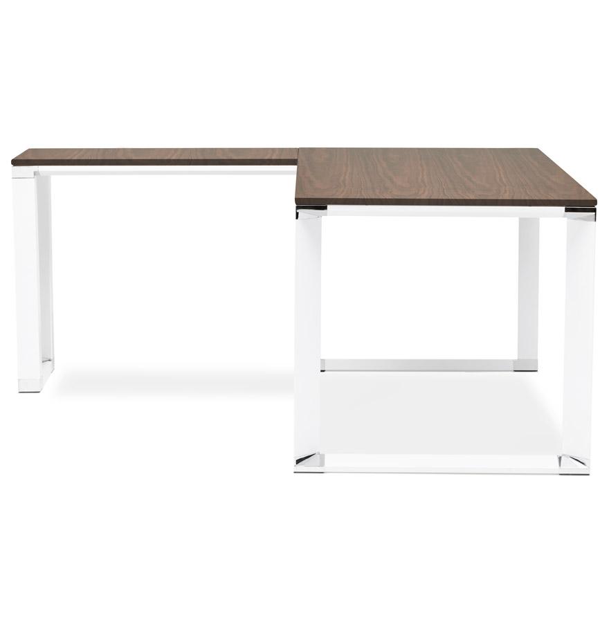 Bureau d´angle design ´XLINE´ en bois finition Noyer et métal blanc (angle au choix)
