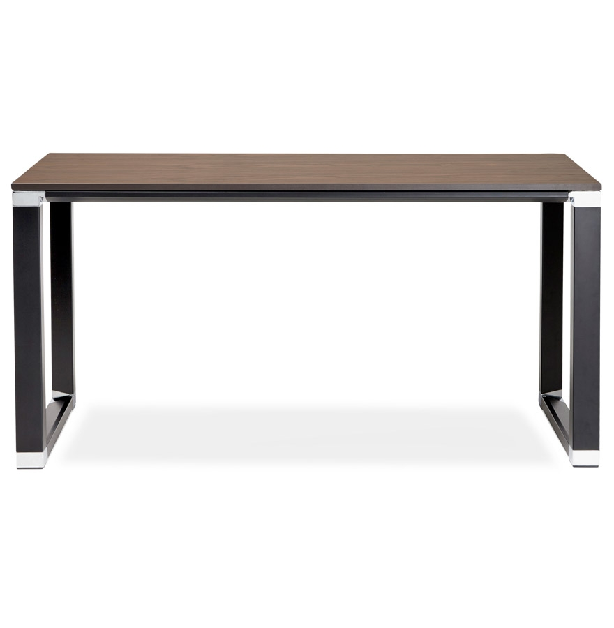Petit bureau droit design ´XLINE´ en bois finition Noyer et métal noir - 140x70 cm