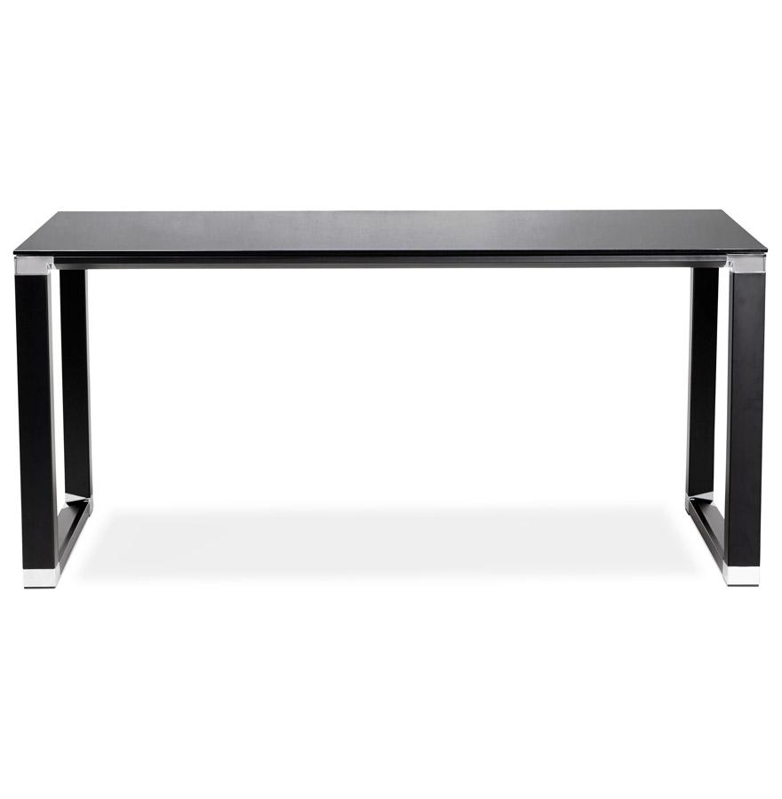Bureau de direction droit design ´XLINE´ en verre noir - 160x80 cm