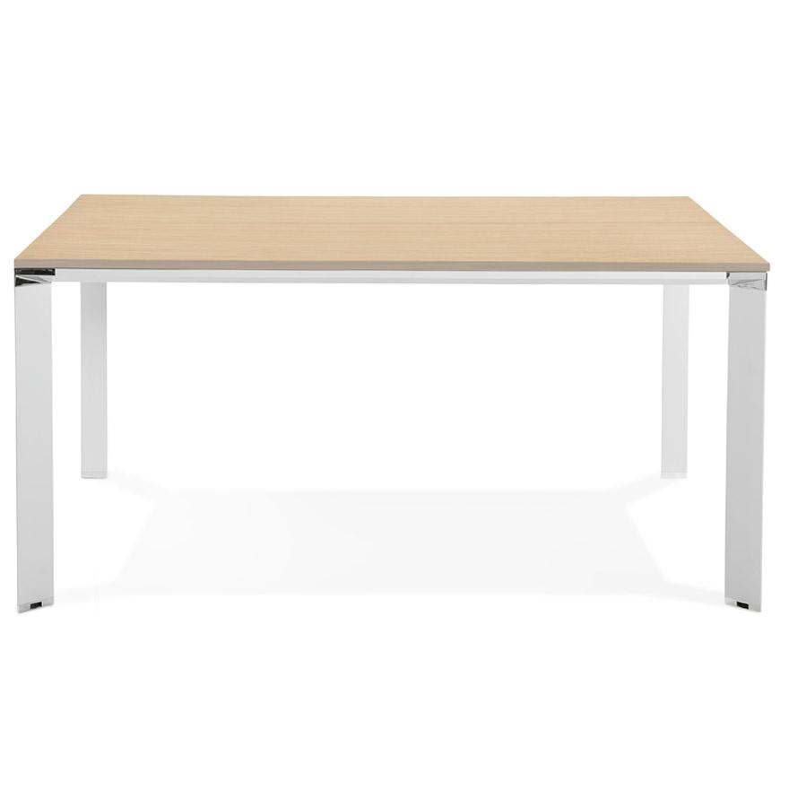 Table de réunion / bureau bench ´XLINE SQUARE´ en bois finition naturelle et métal blanc - 160x160 cm