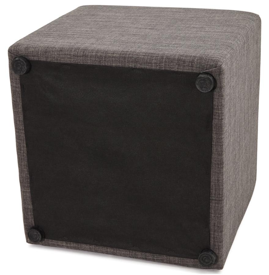petit pouf youca en forme de cube en tissu tram gris fonc. Black Bedroom Furniture Sets. Home Design Ideas