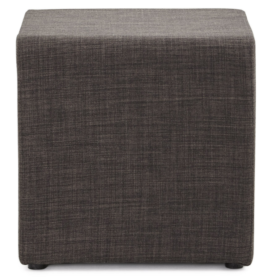 youca grey psd h2 02 - Petit pouf ´YOUCA´ en forme de cube en tissu tramé gris foncé