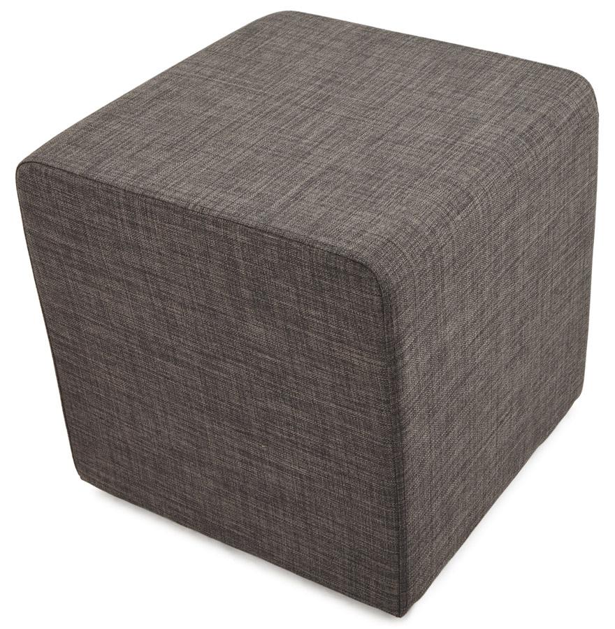 youca grey psd h3 01 - Petit pouf ´YOUCA´ en forme de cube en tissu tramé gris foncé