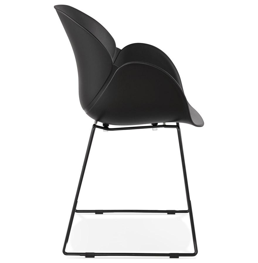 Chaise avec accoudoirs ´ZAKARY´ noire avec pied en métal - intérieur /extérieur