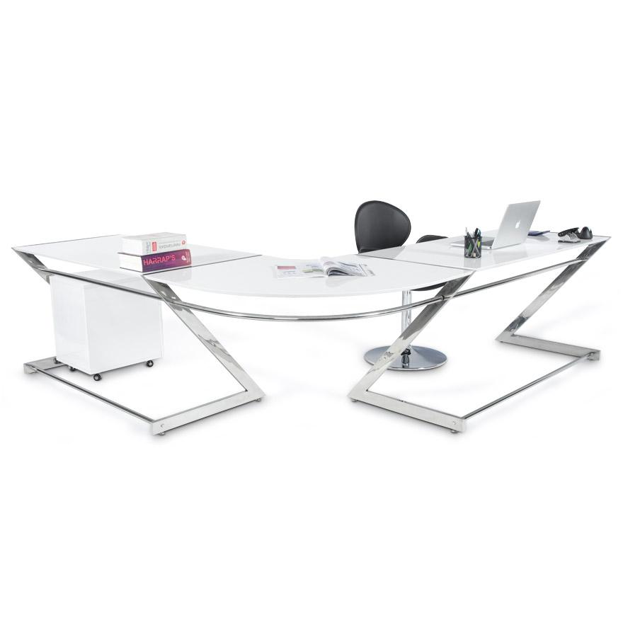 Bureau d\'angle ZETA en bois blanc laqué design - Bureau design