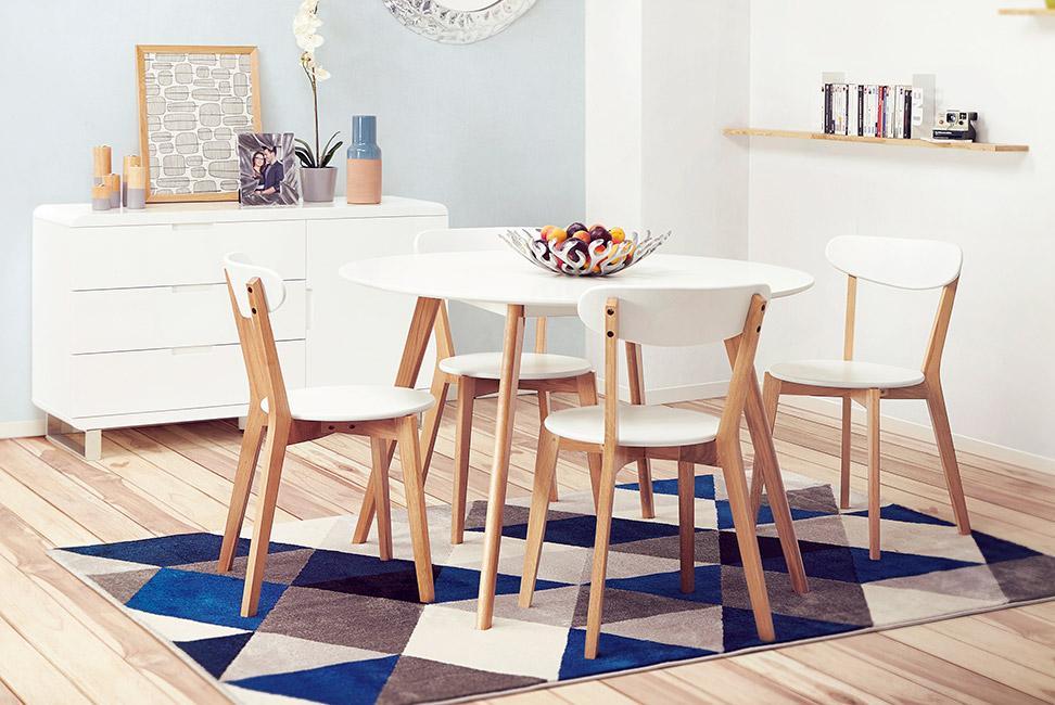 table de cuisine ronde amy blanche style scandinave 120 cm - Meubles Scandinaves