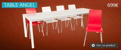 Table extensible en verre blanc ANGEL