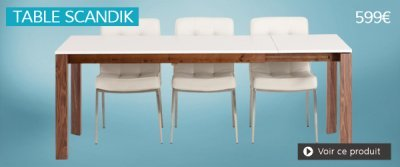 Table extensible blanche SCANDIK