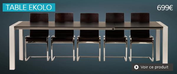 Table extensible en bois noir EKOLO