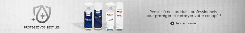 Produits d'entretien PROTEXX et ROYAL - Nettoient et protègent les canapés en tissu