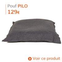 Déco d'automne - Pouf géant PILO en tissu gris