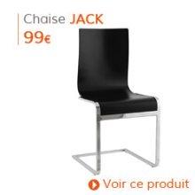 Decoration Classique - Chaise design JACK en bois peint noir