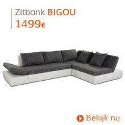 Eigentijds - Hoekbank/slaapbank BIGOU wit/zwart