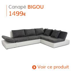 Decoration contemporaine - Canapé d'angle BIGOU blanc
