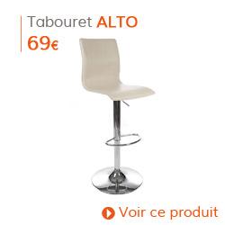 Déco d'automne - Tabouret de bar design ALTO crème