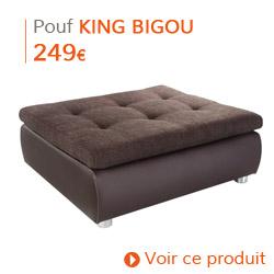 Déco d'automne - Pouf de canapé KING BIGOU brun