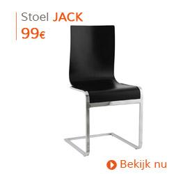 Klassiek -  Design eetkamerstoel JACK uit zwart geverfd hout