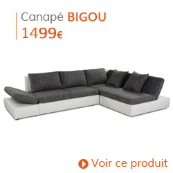 Decoration contemporaine - Canapé d'angle BIGOU blanc