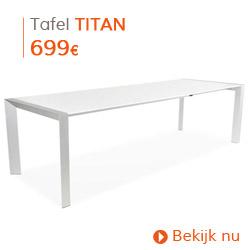 Eigentijds - Witte, uitschuifbare design tafel TITAN met verlengstukken