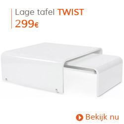 Eigentijds - Lage, uitschuifbare, wit gelakte designtafel TWIST