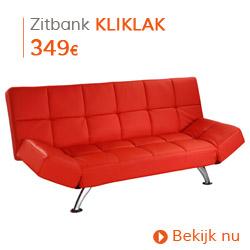 Vintage -  Slaapbank KLIKLAK in rood imitatieleer