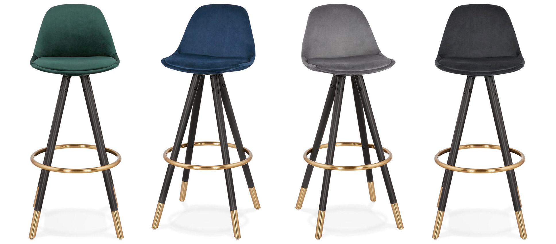Tabourets de bar vintage CHICAGO en velours