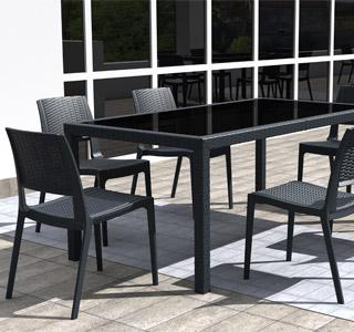 Terrasstafel RIMINI met 4 stoelen  Alterego Design