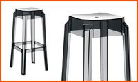 Tabouret de bar LENO noir transparent - Alterego Design