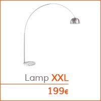 De woonkamer - Boogvormige lamp XXL