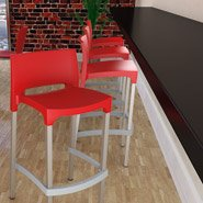 Tabouret de bar MATY rouge - bar commercial