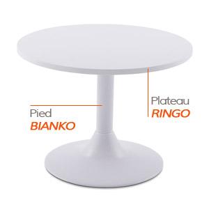 Pied BIANKO et plateau RINGO - Table composée Alterego
