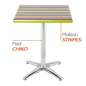 Pied CHIKO et plateau STRIPES - Table composée Alterego