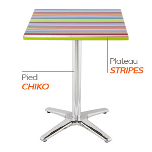CHIKO tafelvoet en STRIPES tafelblad - Tafel Alterego