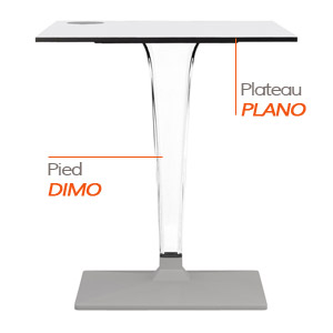 Pied DIMO et plateau PLANO - Table composée Alterego