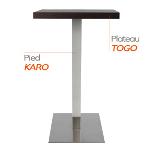 Pied KARO et plateau TOGO - Table composée Alterego