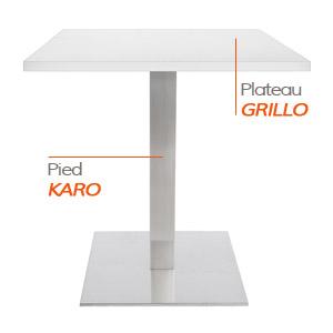 Pied KARO et plateau GRILLO - Table composée Alterego