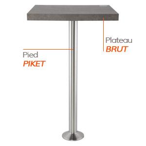 Pied PIKET et plateau BRUT - Table composée Alterego