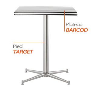 Pied TARGET et plateau BARCOD - Table composée Alterego