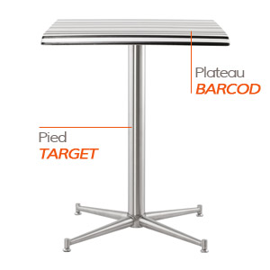 TARGET tafelvoet en BARCOD tafelblad - Tafel Alterego