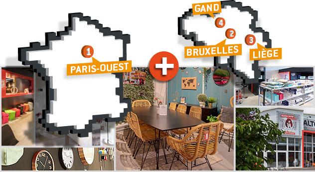 Carte des magasins de meubles Alterego - Partie 1