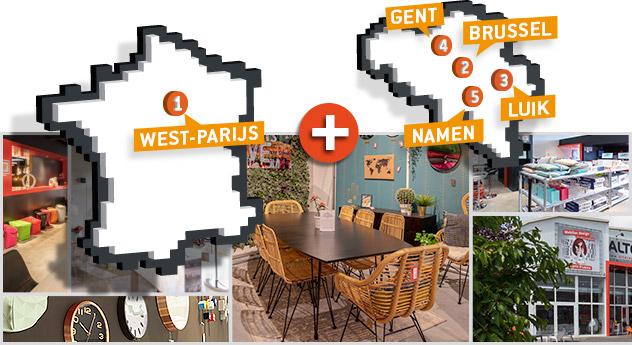 Kaart van de Alterego meubelwinkels - Deel 1